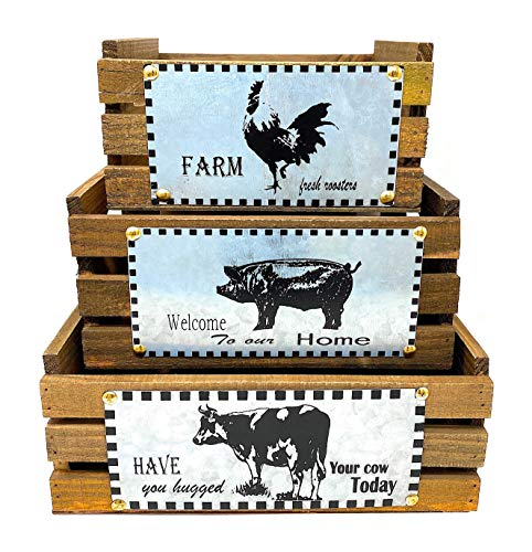 S/3 Farmhouse Decor Basket Crates Wood & Metal Kitchen Countertop Pantry Organizer Fruit Produce Bread Storage