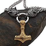 Collar Vikingo del Martillo De Thor para Hombre - Joyas Nórdicas Mjolnir Colgante De Cabeza De Lobo - Cadena De Acero Inoxidable con Caja De Regalo Valknut,Oro,60cm