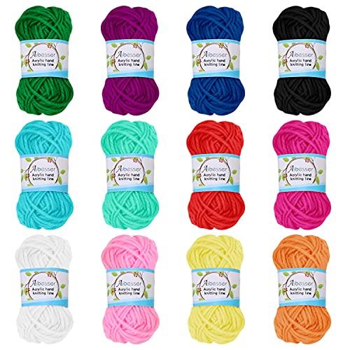 Wolle Häkelgarn 120g(10Gr*12 Farbe) Wolle Zum Stricken Acryl Wolle zum Häkeln Set Handstrickgarn Baumwollgarn Dicke Wolle für Häkeln