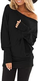 HIRIRI Women's Off Shoulder Batwing Sleeve Shirt Loose Long Sleeve Pullover Tunic Tops Blouse Bottom
