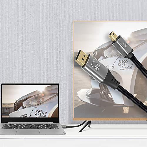 CABLEDECONN Mini DP zu DisplayPort 8K-Kabel 8K (7680x4320)@ 60Hz 4K@144Hz DisplayPort 1.4 Bidirektionales Getriebe DisplayPort zu Mini DisplayPort 8K-Kabel Kompatibel mit MacBook Pro Surface Pro 2m