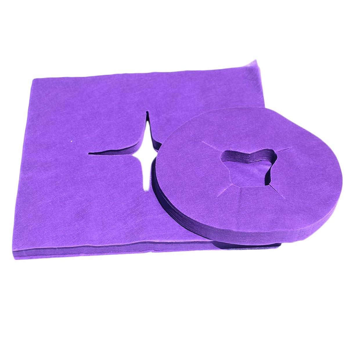 ストラップ死にかけているセレナdailymall 200個の使い捨てフェイスクレードルカバー-マッサージテーブルチェア用の超ソフト、非粘着マッサージフェイスカバーとヘッドレストカバー - 紫の