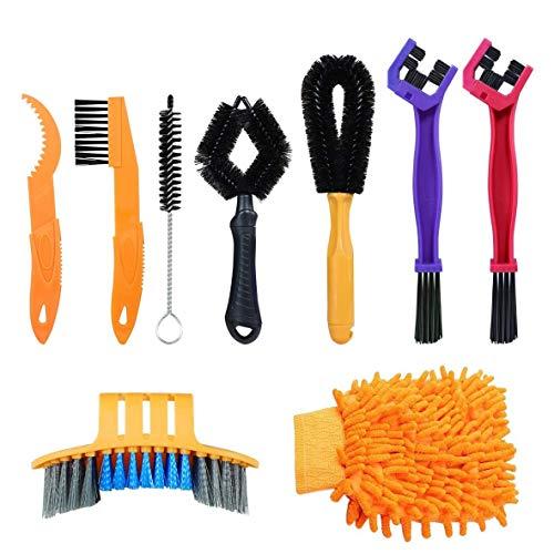 Cobeky Juego de 9 herramientas de limpieza de bicicletas, cepillo de limpieza de cadena de bicicletas, cepillo de engranajes, herramienta de mantenimiento de limpieza para todo tipo de bicicletas