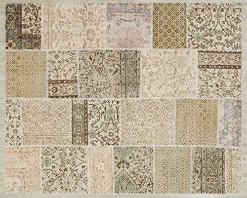 Alfombra de lana hecha a mano turca Patchwork Beige 5550 Ölçü; 200x250