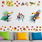 Pegatinas de Pared Tropical Aves Acuarela Flores Decoración para Sala de Estar Dormitorio