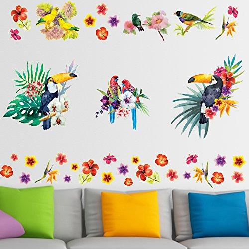 Tropisch Vogels Muurstickers Waterverf Bloemen Vinyl Decals voor Woonkamer Slaapkamer Kinderkamer Decoraties