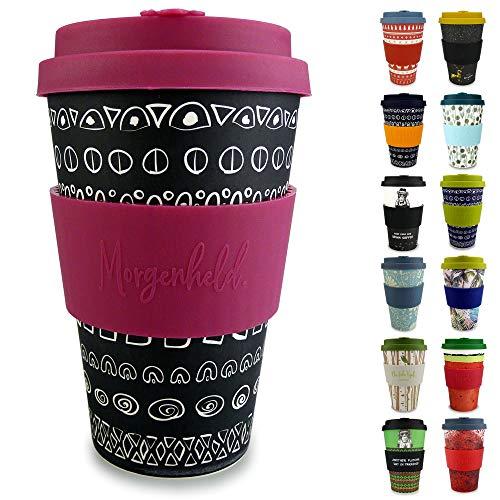 Morgenheld Dein trendiger Bambusbecher   Coffee-to-Go-Becher   Kaffeebecher mit Silikondeckel und Banderole in coolem Design 400 ml (Blacky Berry)