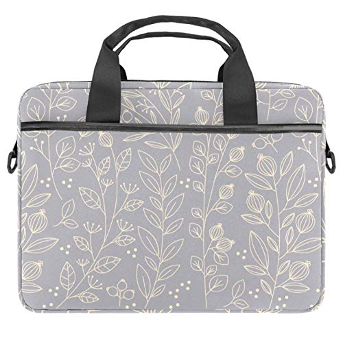 13-14.5 Inch Laptop Sleeve Case Light Gray Floral Patterns Protective Cover Bag Portable Computer Notebook Carrying Case Briefcase Message Bag