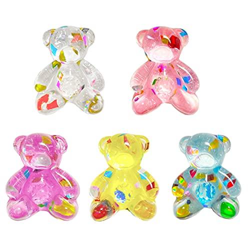 Aabellay 30 piezas de resina caramelo gomoso oso cabujones Deco osos encantos coloridos granos para collar DIY colgantes llavero broche pendiente teléfono móvil caso accesorios - Glitter osos