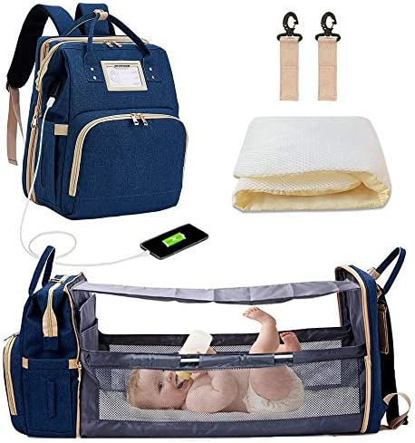 Diaper Backpack with Changing Bed 3 in 1 Travel Diaper Bag with Changing Station Water Resistant product image