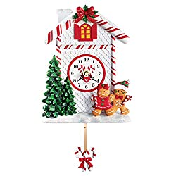 Collections Etc Holiday Gingerbread Candy Cane Pendulum Wall Clock
