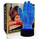 KangYD 3D Night Light Palm Hand, LED Visual Lamp, Office Decor Gift, A - Touch negra Base (7 colores), Lámpara de mesa, Artesanía, Luz de la moda