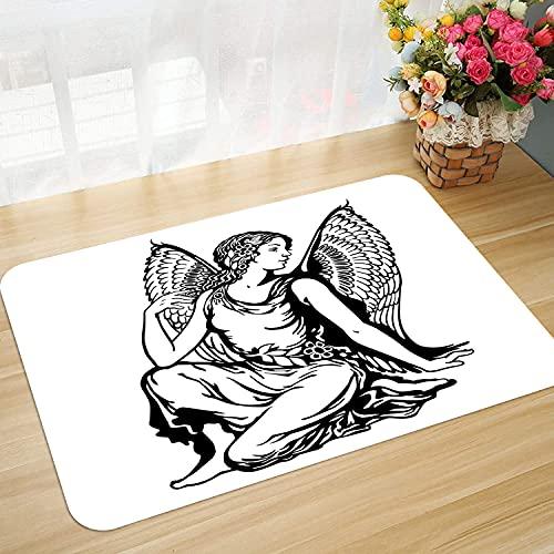 Alfombra de baño y Alfombra Antideslizante 45 * 75 cm Zodiaco Virgo, Figura artística de Mujer Joven con alas de ángel, diseño de Arte de Tatuaje monoc Apto para Cocina, salón, Ducha, etc.