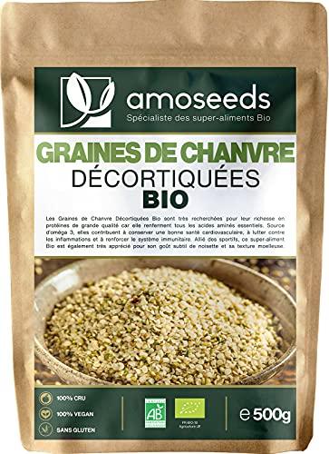 Graines de Chanvre Décortiquées Bio 500G | Origine EU, Protéines végétales, Anti-fatigue | Qualité Supérieure