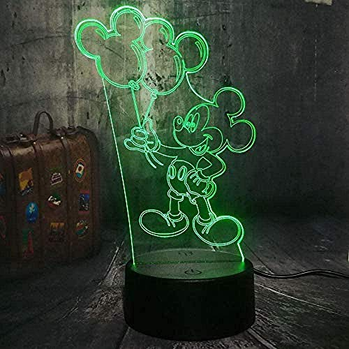 Lampa z iluzją 3D lampy biurkowe Myszka Miki Stół Dekoracja Przemiana Pokój gier Dekoracja Najlepsze Boże Narodzenie z ładowaniem USB, Kolorowa zmiana kolorów