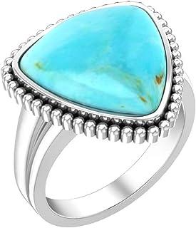 مجوهرات بيلندا للنساء 925 فضة استرلينية نمط عتيق الأحجار الكريمة خواتم جميلة