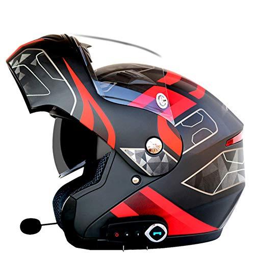 Preisvergleich Produktbild GWJ Smart Motorrad Helm Bluetooth,  Musik,  Freisprecheinrichtung,  Multifunktions-Anti-Nebel-Doppel-Objektiv Helm,  Kommt Mit FM-Funktion Motorradhelm,  Geeignet Für Straßenrennen,  Off-Road, Red, L