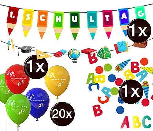TK Gruppe Timo Klingler XXL Deko Dekoration über 100 Teile - Schulanfang, 1.Schultag, Einschulung, ABC Erster Schultag, Schuleinführung, Konfetti, Luftballons UVM (100x Teile)