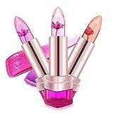 MagiDeal, Set di 2 rossetti Jelly a forma di fiore, a lunga tenuta e cambiacolore con cambiamento di temperatura per labbra, make-up gloss
