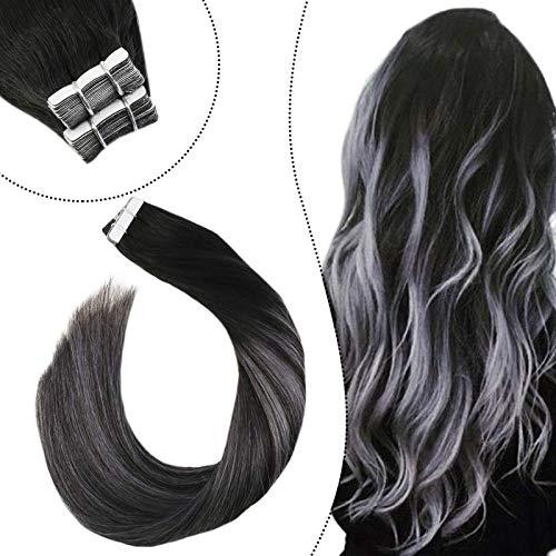 Ugeat Echthaar Brasilianisch Tape Tressen Schwarz Balayage Ombre Silber Remy 100% Human Hair Invisible Skin Weft Adhesive Tabs Unsichtbar 24Zoll (#1B/Silber/1B, 50GR/20PC)