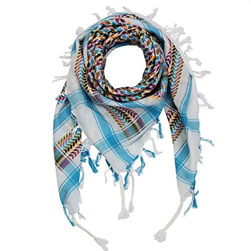 Superfreak Palituch multicolor bunt°PLO Schal°100x100 cm°Pali Palästinenser Arafat Tuch°100{1e397ba6feae195c40726ac1b7a137382e55a7548f1b9af74ef9ff2af0b78303} Baumwolle° alle Farben und Batik, Weiß/Türkis-bunt, 100x100cm