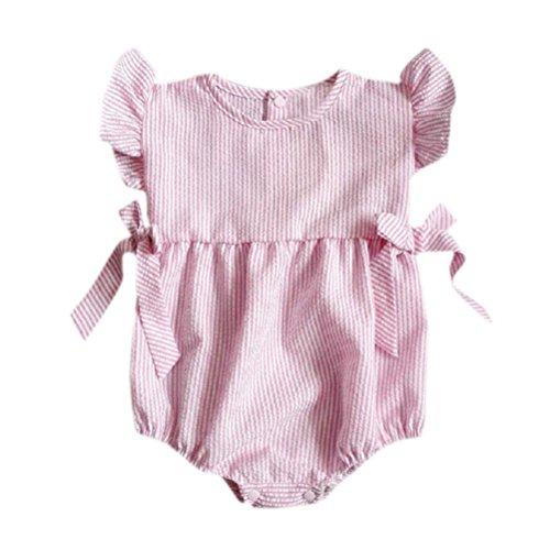 Pour 0-24 Mois Bébé Pyjama, Tonwalk Bébé Fille Pyjama Rayures (18-24M, Rose)