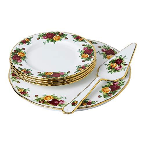 Royal Albert Old Country Roses Juego de 6 moldes para tartas, Porcelana de ceniza de hueso, multicolor