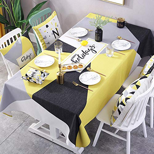 YCZZ Table cloth, Nordic black and yellow series table cloth, home coffee table TV cabinet table cloth, hotel rectangular table cloth 140 * 200cm Black yellow block tablecloth
