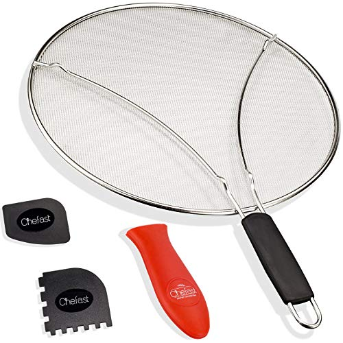 Chefast Splatter Screen Set 13-Inch Stainless Steel Grease Guard Grill and Cooking Pan Scrapers and Silicone Hot Handle Holder - Oil Shield for Frying Pans and Skillets Renewed