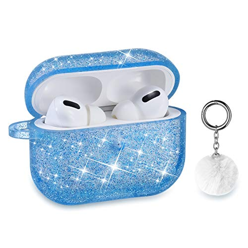 Airpods Pro Case, DMMG Airpods Case Cover Silicone Skin, AirPods Protective Cute Bling Glitter Case with Fluff Ball Keychain, Scratch Proof and Drop Proof for Apple Airpods Pro (Blue)
