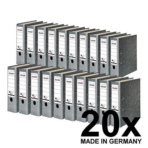 Original Falken 20er Pack Recycling-Ordner Wolkenmarmor. Made in Germany. 8 cm breit DIN A4 grauer Rücken Ringordner Aktenordner Briefordner Büroordner Pappordner Blauer Engel