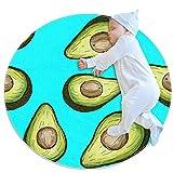 HANDIYA Alfombra redonda antideslizante niños círculo alfombra circular alfombra lavable a máquina, receta aguacate