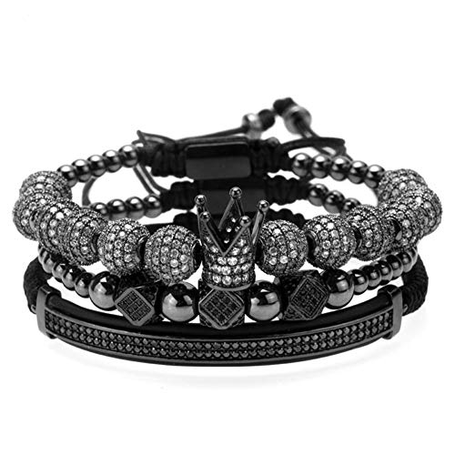MAGIC FISH Men Imperial Crown King Black Bracelet Pave CZ Handmade Mens Bracelets Set Friendship Luxury Charm Fashion Cuff Crown Pulseira Bangle Birthday Jewelry【Adjustable size】