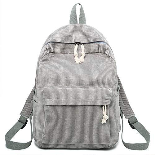 Behavetw Rucksack aus Kord, für Damen, Mädchen, Studenten, Studenten, College, leicht, solide, grau, Free Size
