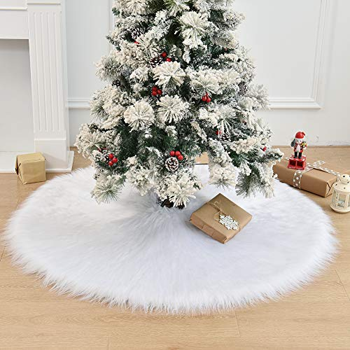 HAIGOU 48 Inch Christmas Tree Plush Skirt Decoration for Merry Christmas Party Faux Fur Christmas Tree Skirt Decorations
