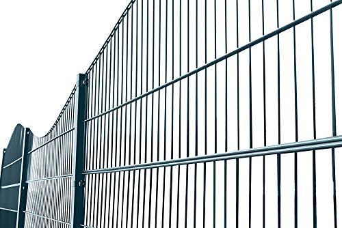 Home Deluxe - Doppelstabmattenzaun 10 m Komplett-Set - Höhe: 2,0 m - Anthrazit - Dekor: Berg/Tal - feuerverzinkter Stahl - langlebige Pulverbeschichtung