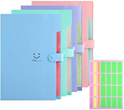 Expanding File Folders 5 Pockets Plastic Expandable File Jackets A4 Letter Size,4 Color Accordion Folder Document Holder for School Office Travel …