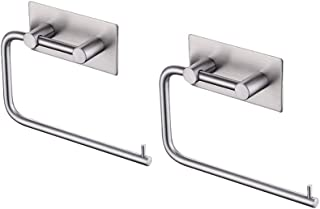 KES Self Adhesive SUS 304 Stainless Steel Toilet Paper Holder Storage Bathroom Kitchen Paper Towel Dispenser Stick On Sticky Tissue Roll Hanger Contemporary Style, Brushed Finish 2 Pack, A7070-2-P2