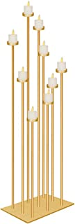 smtyle DIY 9 Candelabra Floor 70 inch Tall Candle Holders Centerpiece for Tealight Set Wedding Decor Large with Gold Iron