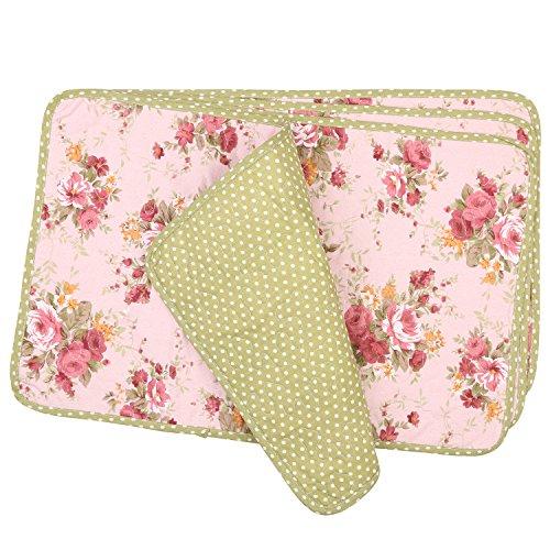 NEOVIVA - Set di 4 tovagliette trapuntate per sala da pranzo, in cotone, motivo floreale, colore: rosa quarzo