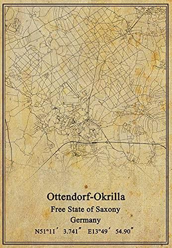 Leinwanddruck, Motiv Deutschland, Ottendorf-Okrilla, Freistaat, Landkarte, Vintage, ungerahmt, Dekoration, Geschenk, 61 x 91 cm