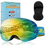 Zacro - Gafas de esquí y Snowboard (visión Clara, sin Marco), Azul
