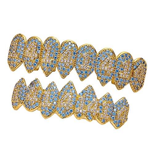 Sharplace 18 Karat Hip Hop Zähne Grills Mund obere und untere Zähne-Grills Diamant Gangster Halloween Cosplay - Gold gesetzt