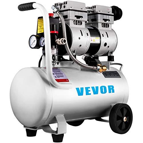 VEVOR Air Compressor 6.6 Gallon, Portable Air Compressor 1 HP, Oil Free Air Compressor Steel Tank 750W, Pancake Air Compressor 115 PSI, Ultra Quiet Compressor for Home Repair, Tire Inflation