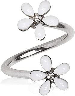 Amelia Fashion 18 Gauge White Wild Flower Twist Circulars 316L Surgical Steel