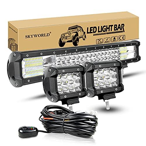 SKYWORLD LED-Lichtleiste, 20' 288W Spot Flutlicht Arbeitsscheinwerfer Bar Offroad + 4' 36W...