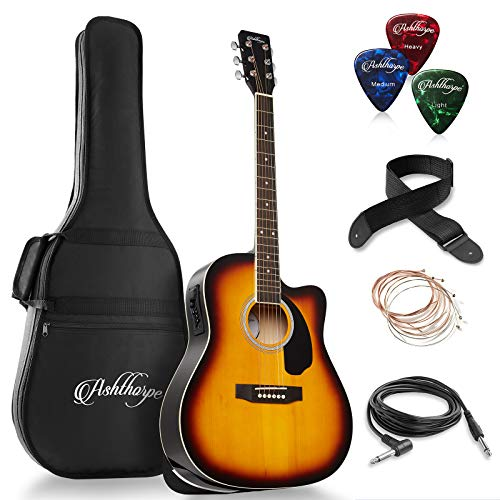 Ashthorpe Full-Size Dreadnought Cutaway Acoustic-Electric Guitar Bundle - Premium Tonewoods - Sunburst
