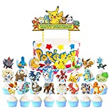 25Pcs Pikachu Happy Birthday Cake Topper Pokemon Cupcake Topper for Cake Decorations