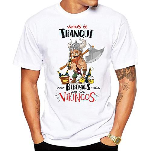 FUNNY CUP Camiseta Vamos de Tranqui Pero bebemos mas Que los Vikingos. Fiestas, Grupos Despedida Soltero, cumpleaños. (S)