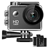 Sports Camera, 170° Wide Angle Lens 4K Full HD 2 Inch LCD Screen 30M Waterproof Action Camera with 2 Rechargeable Batteries & All Necessary Accessories Kit